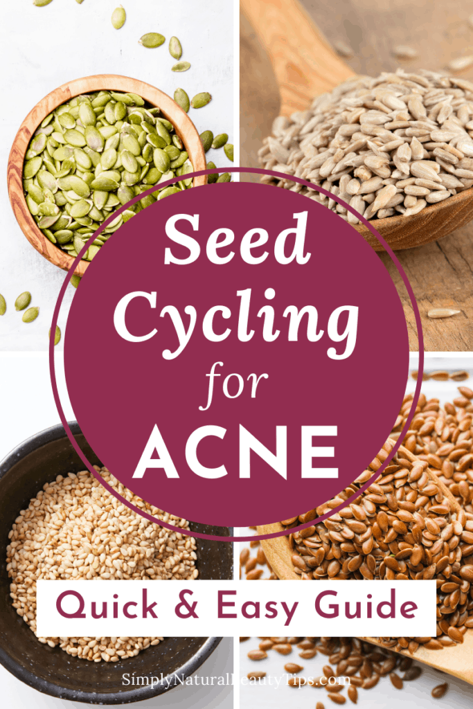 spoons and bowls showing seed cycling for acne