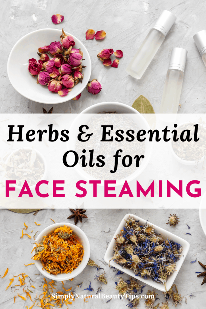 what can i add to my facial steam - pin image showing herbs and essential oils